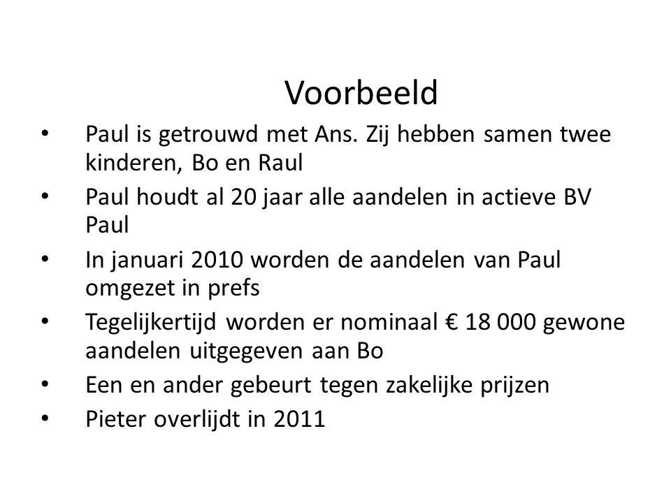 Voorbeeld • Paul is getrouwd met Ans. Zij hebben samen twee kinderen, Bo en Raul • Paul houdt al 20 jaar alle aandelen in actieve BV Paul • In januari