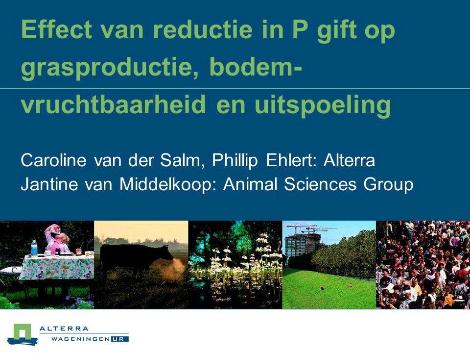 Effect van reductie in P gift op grasproductie, bodem- vruchtbaarheid en uitspoeling Caroline van der Salm, Phillip Ehlert: Alterra Jantine van Middel
