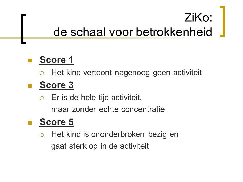ZiKo: de schaal voor betrokkenheid  Score 1  Het kind vertoont nagenoeg geen activiteit  Score 3  Er is de hele tijd activiteit, maar zonder echte