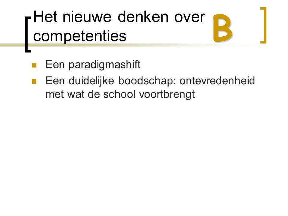 Het nieuwe denken over competenties  Een paradigmashift  Een duidelijke boodschap: ontevredenheid met wat de school voortbrengt B