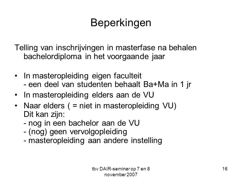 tbv DAIR-seminar op 7 en 8 november 2007 16 Beperkingen Telling van inschrijvingen in masterfase na behalen bachelordiploma in het voorgaande jaar •In