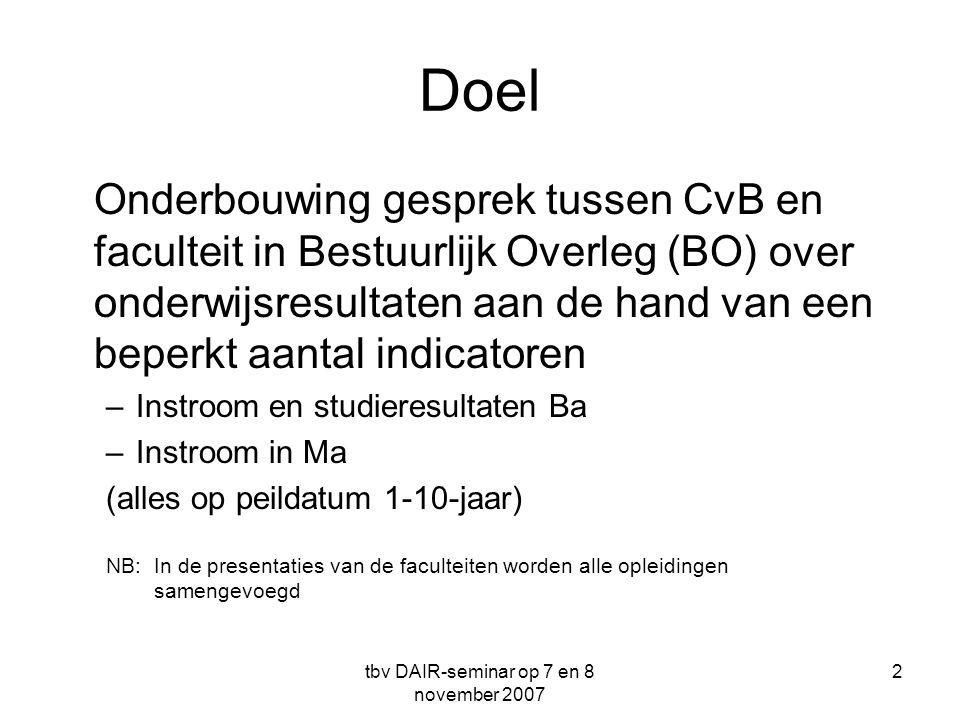 tbv DAIR-seminar op 7 en 8 november 2007 2 Doel Onderbouwing gesprek tussen CvB en faculteit in Bestuurlijk Overleg (BO) over onderwijsresultaten aan