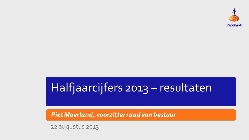 Titeldia Halfjaarcijfers 2013 – actualiteiten Piet Moerland, voorzitter raad van bestuur 22 augustus 2013
