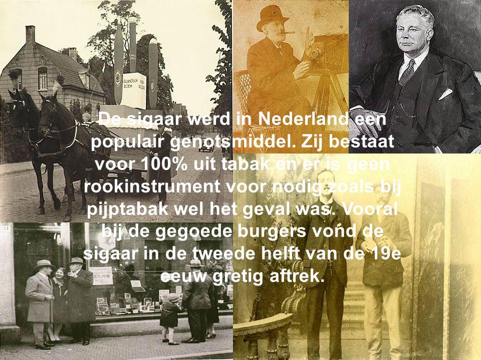 De sigaar werd in Nederland een populair genotsmiddel. Zij bestaat voor 100% uit tabak en er is geen rookinstrument voor nodig zoals bij pijptabak wel