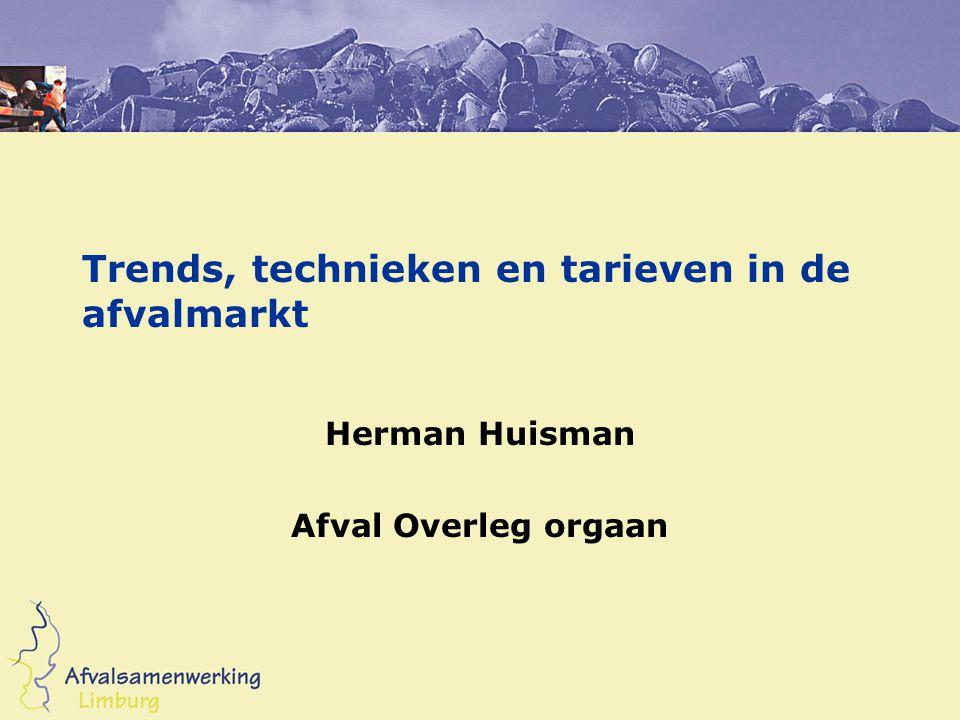 Trends, technieken en tarieven in de afvalmarkt Herman Huisman Afval Overleg orgaan