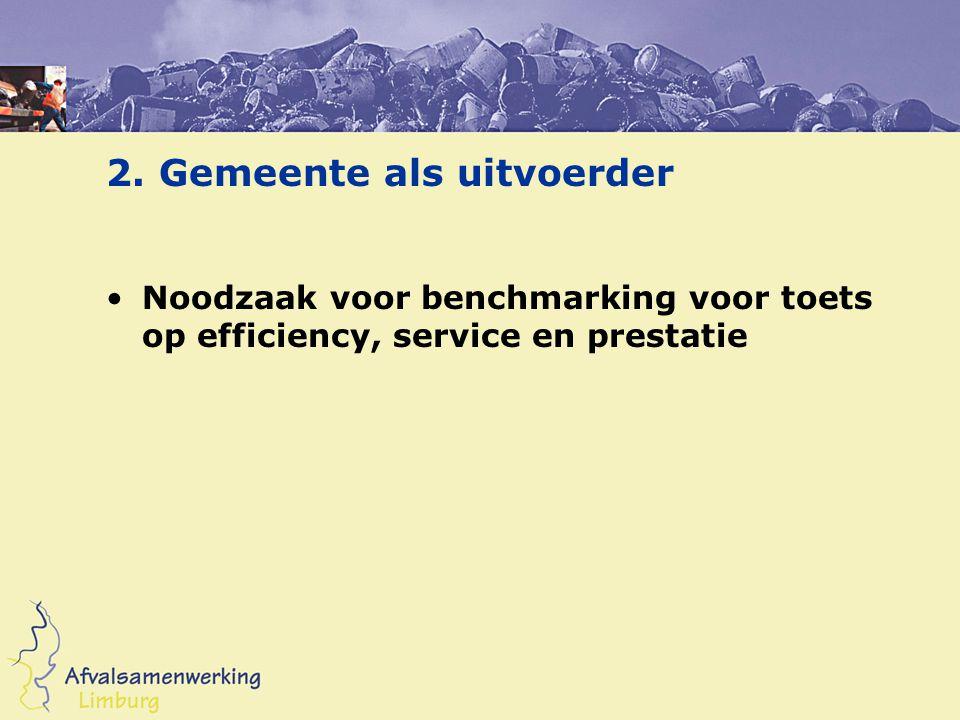2. Gemeente als uitvoerder •Noodzaak voor benchmarking voor toets op efficiency, service en prestatie