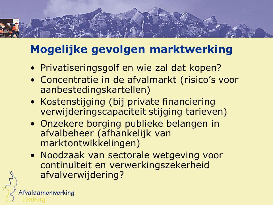 Mogelijke gevolgen marktwerking •Privatiseringsgolf en wie zal dat kopen? •Concentratie in de afvalmarkt (risico's voor aanbestedingskartellen) •Koste
