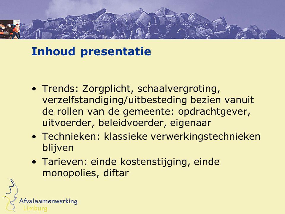 Inhoud presentatie •Trends: Zorgplicht, schaalvergroting, verzelfstandiging/uitbesteding bezien vanuit de rollen van de gemeente: opdrachtgever, uitvo
