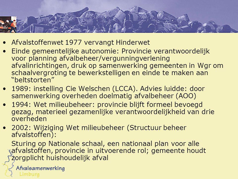 •Afvalstoffenwet 1977 vervangt Hinderwet •Einde gemeentelijke autonomie: Provincie verantwoordelijk voor planning afvalbeheer/vergunningverlening afvalinrichtingen, druk op samenwerking gemeenten in Wgr om schaalvergroting te bewerkstelligen en einde te maken aan beltstorten •1989: instelling Cie Welschen (LCCA).
