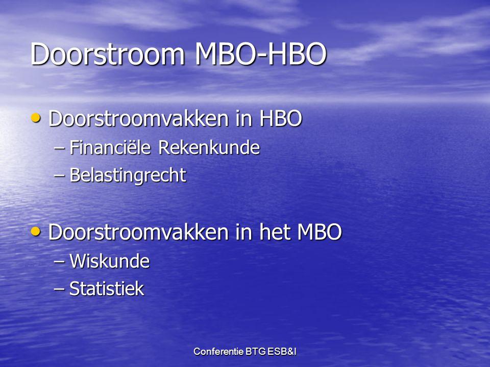 Conferentie BTG ESB&I Doorstroom MBO-HBO • Doorstroomvakken in HBO –Financiële Rekenkunde –Belastingrecht • Doorstroomvakken in het MBO –Wiskunde –Sta