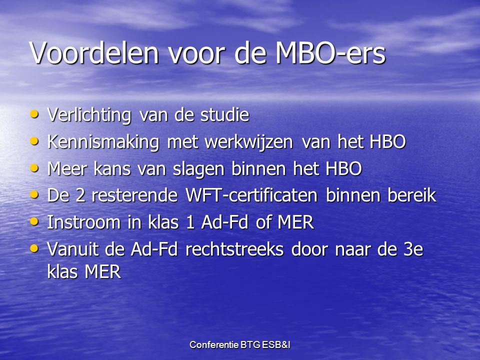 Conferentie BTG ESB&I Voordelen voor de MBO-ers • Verlichting van de studie • Kennismaking met werkwijzen van het HBO • Meer kans van slagen binnen he