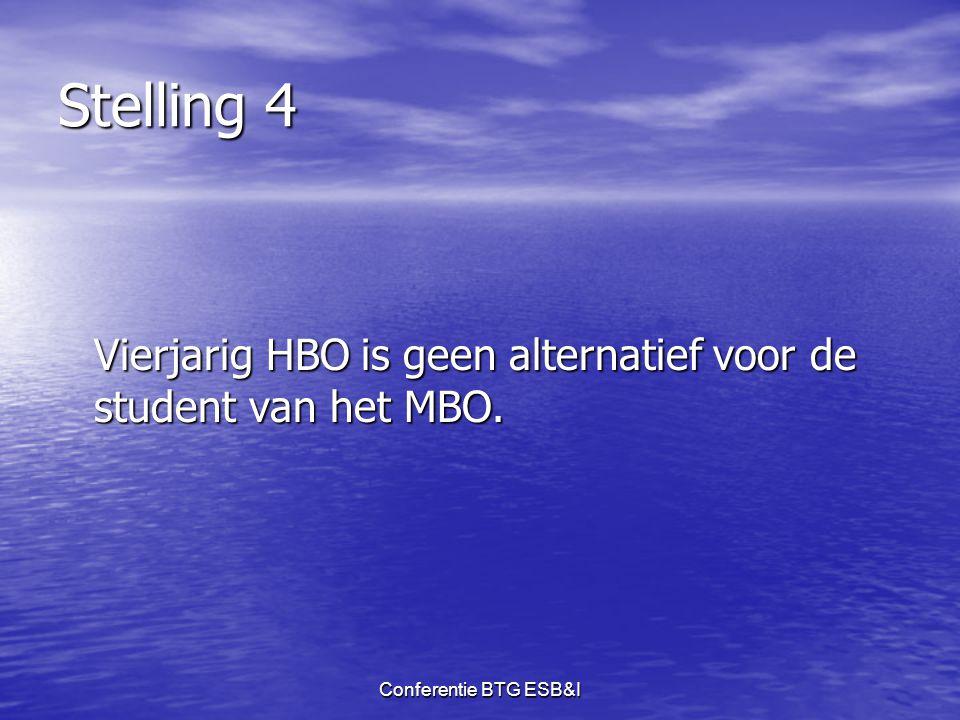 Conferentie BTG ESB&I Stelling 4 Vierjarig HBO is geen alternatief voor de student van het MBO.