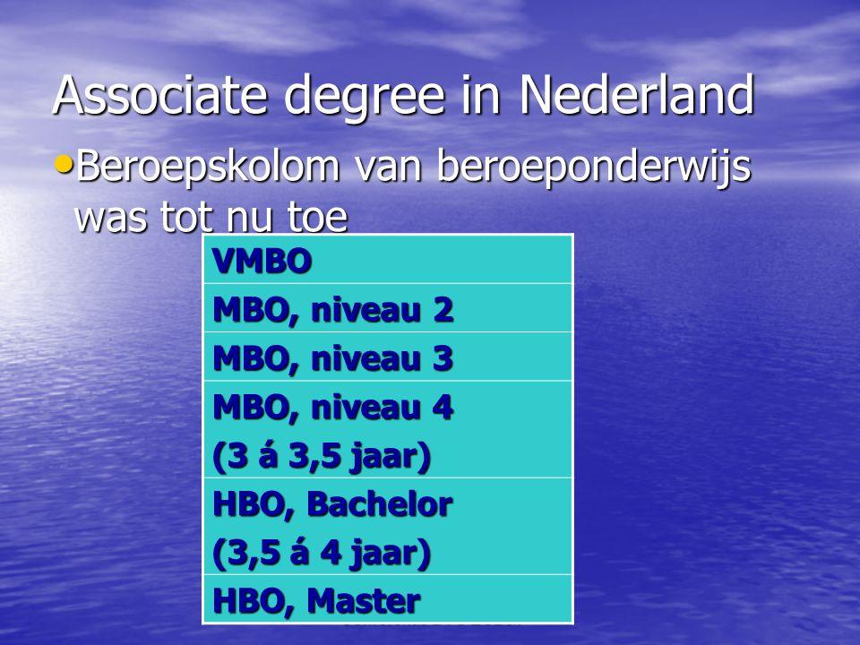 Conferentie BTG ESB&I Associate degree in Nederland • Beroepskolom van beroeponderwijs was tot nu toe VMBO MBO, niveau 2 MBO, niveau 3 MBO, niveau 4 (