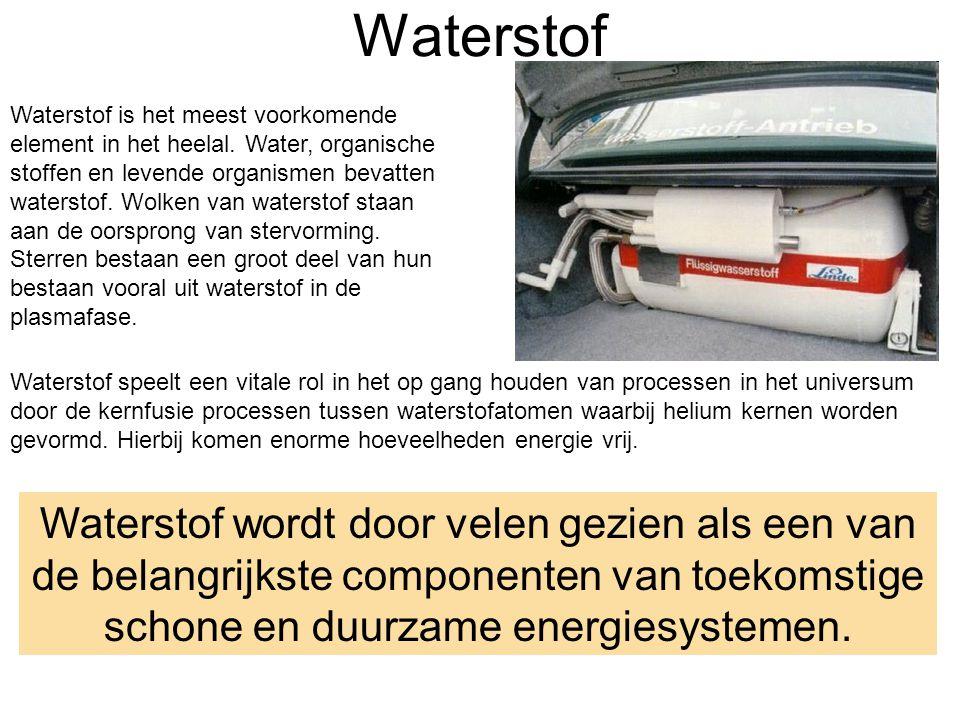 Waterstof Waterstof is het meest voorkomende element in het heelal.