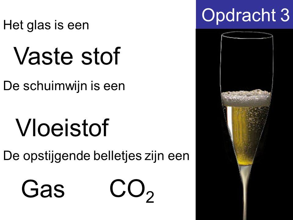 Opdracht 3 Vaste stof Het glas is een De schuimwijn is een De opstijgende belletjes zijn een Vloeistof Gas CO 2