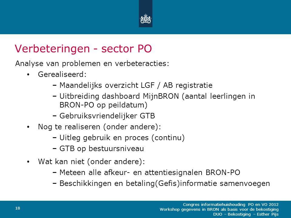 Congres informatiehuishouding PO en VO 2012 Workshop gegevens in BRON als basis voor de bekostiging DUO – Bekostiging – Esther Pijs 18 Verbeteringen -