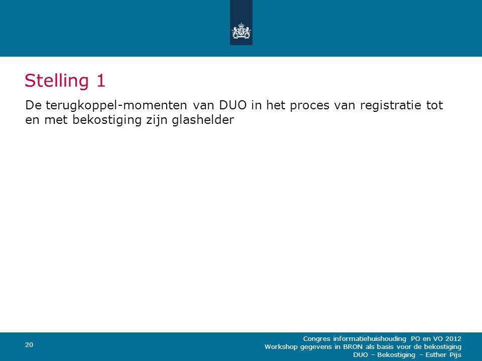 Congres informatiehuishouding PO en VO 2012 Workshop gegevens in BRON als basis voor de bekostiging DUO – Bekostiging – Esther Pijs 20 Stelling 1 De t