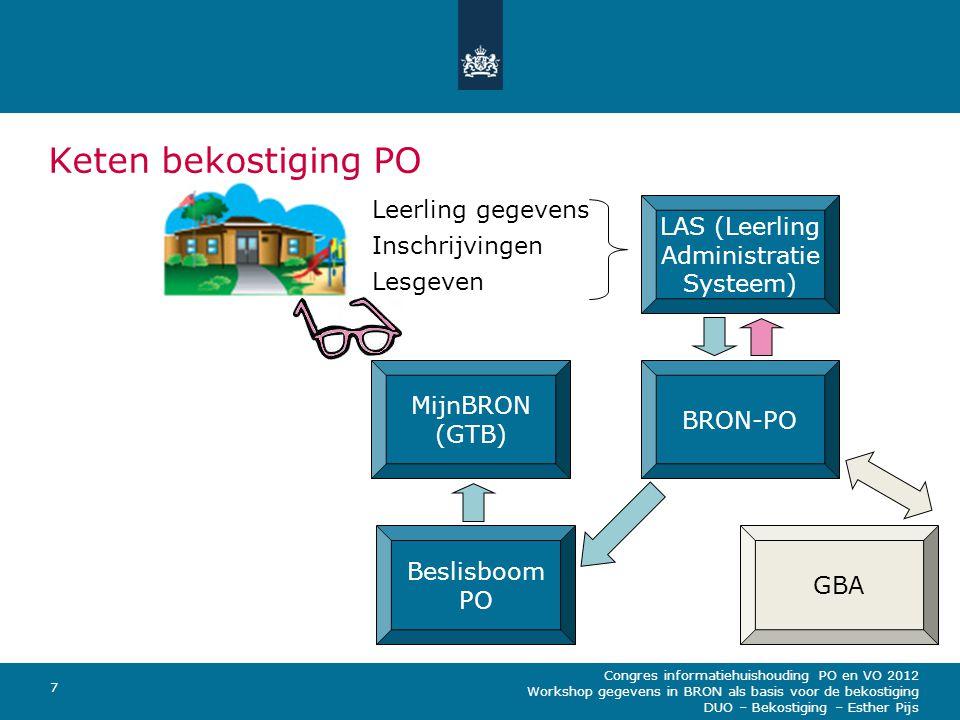Congres informatiehuishouding PO en VO 2012 Workshop gegevens in BRON als basis voor de bekostiging DUO – Bekostiging – Esther Pijs 8 Terugkoppelmoment MijnBRON PO Terugkoppeling via MijnBRON GTB (Geconsolideerde Tellingen Bekostiging) (2x per week) Een mutatie van leerling-gegevens heeft niet direct gevolgen voor de bekostiging.