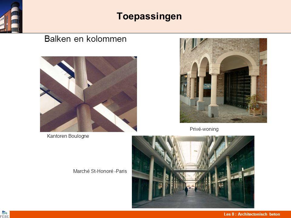 Les 8 : Architectonisch beton Toepassingen Balken en kolommen Privé-woning Kantoren Boulogne Marché St-Honoré -Paris