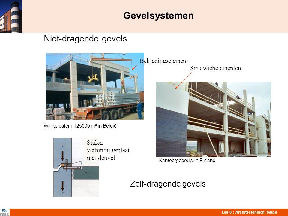 Les 8 : Architectonisch beton Gevelsystemen Niet-dragende gevels Winkelgalerij 125000 m² in België Kantoorgebouw in Finland Zelf-dragende gevels Stale