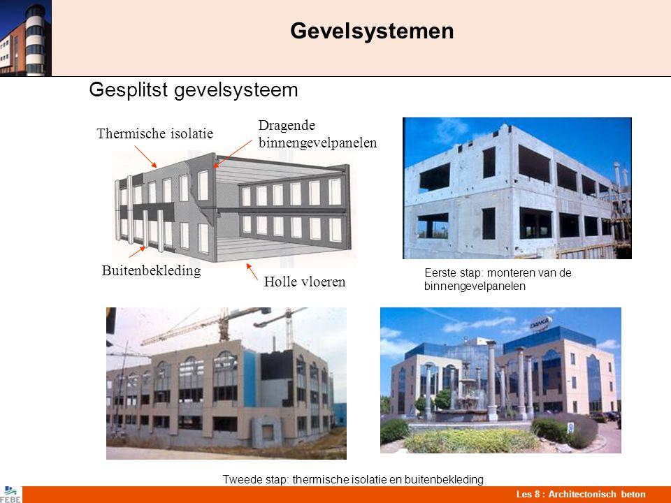 Les 8 : Architectonisch beton Gevelsystemen Gesplitst gevelsysteem Eerste stap: monteren van de binnengevelpanelen Tweede stap: thermische isolatie en