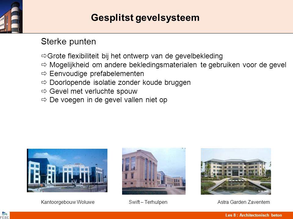 Les 8 : Architectonisch beton Gesplitst gevelsysteem Sterke punten  Grote flexibiliteit bij het ontwerp van de gevelbekleding  Mogelijkheid om ander