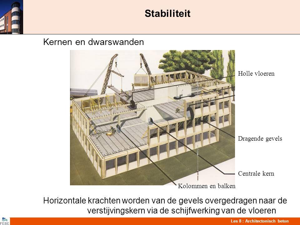 Les 8 : Architectonisch beton Stabiliteit Kernen en dwarswanden Horizontale krachten worden van de gevels overgedragen naar de verstijvingskern via de