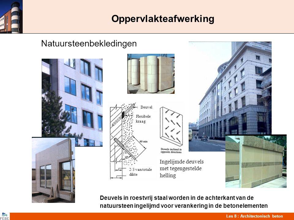 Les 8 : Architectonisch beton Oppervlakteafwerking Natuursteenbekledingen Deuvels in roestvrij staal worden in de achterkant van de natuursteen ingeli