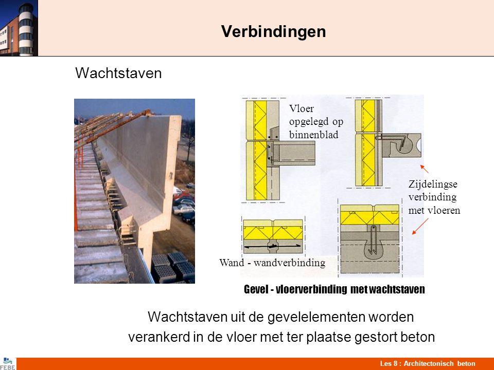 Les 8 : Architectonisch beton Verbindingen Wachtstaven Wachtstaven uit de gevelelementen worden verankerd in de vloer met ter plaatse gestort beton Ge