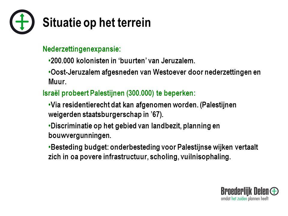 Situatie op het terrein Nederzettingenexpansie: • 200.000 kolonisten in 'buurten' van Jeruzalem.