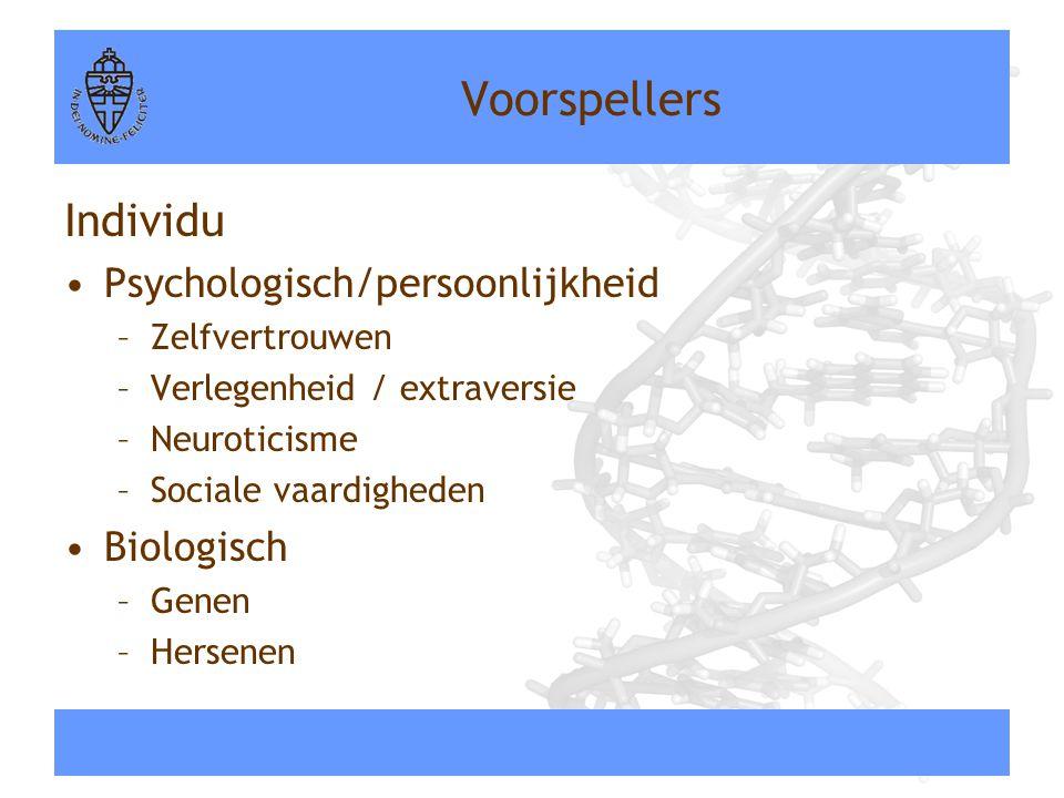 Voorspellers Individu •Psychologisch/persoonlijkheid –Zelfvertrouwen –Verlegenheid / extraversie –Neuroticisme –Sociale vaardigheden •Biologisch –Gene