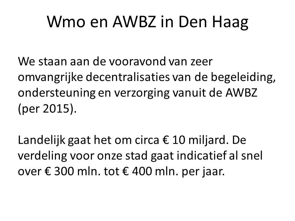 Wmo en AWBZ in Den Haag We staan aan de vooravond van zeer omvangrijke decentralisaties van de begeleiding, ondersteuning en verzorging vanuit de AWBZ