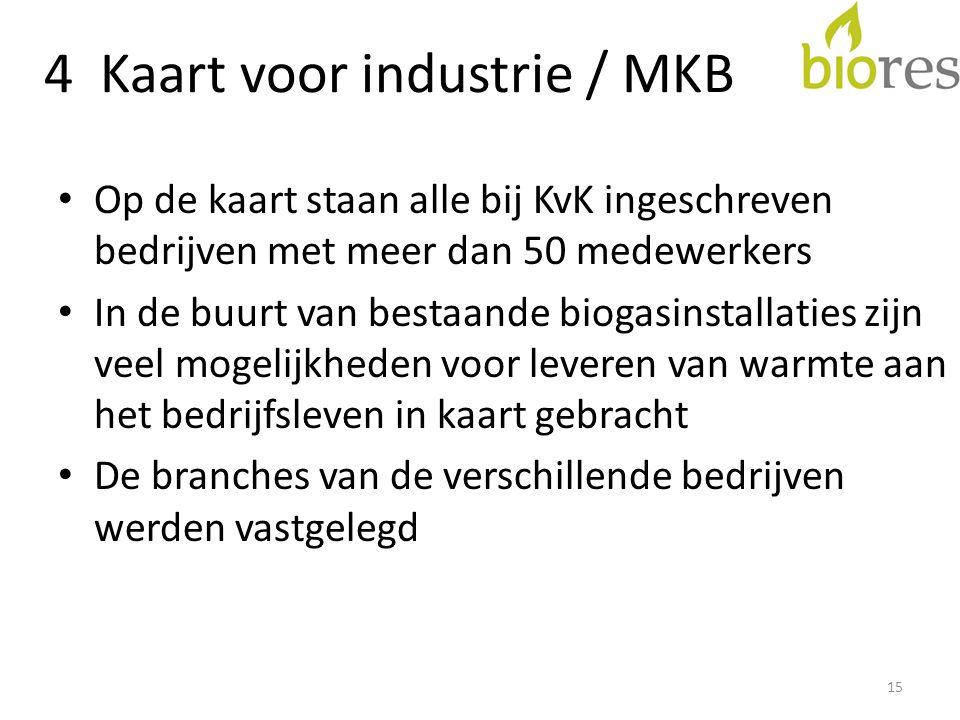 4 Kaart voor industrie / MKB • Op de kaart staan alle bij KvK ingeschreven bedrijven met meer dan 50 medewerkers • In de buurt van bestaande biogasinstallaties zijn veel mogelijkheden voor leveren van warmte aan het bedrijfsleven in kaart gebracht • De branches van de verschillende bedrijven werden vastgelegd 15