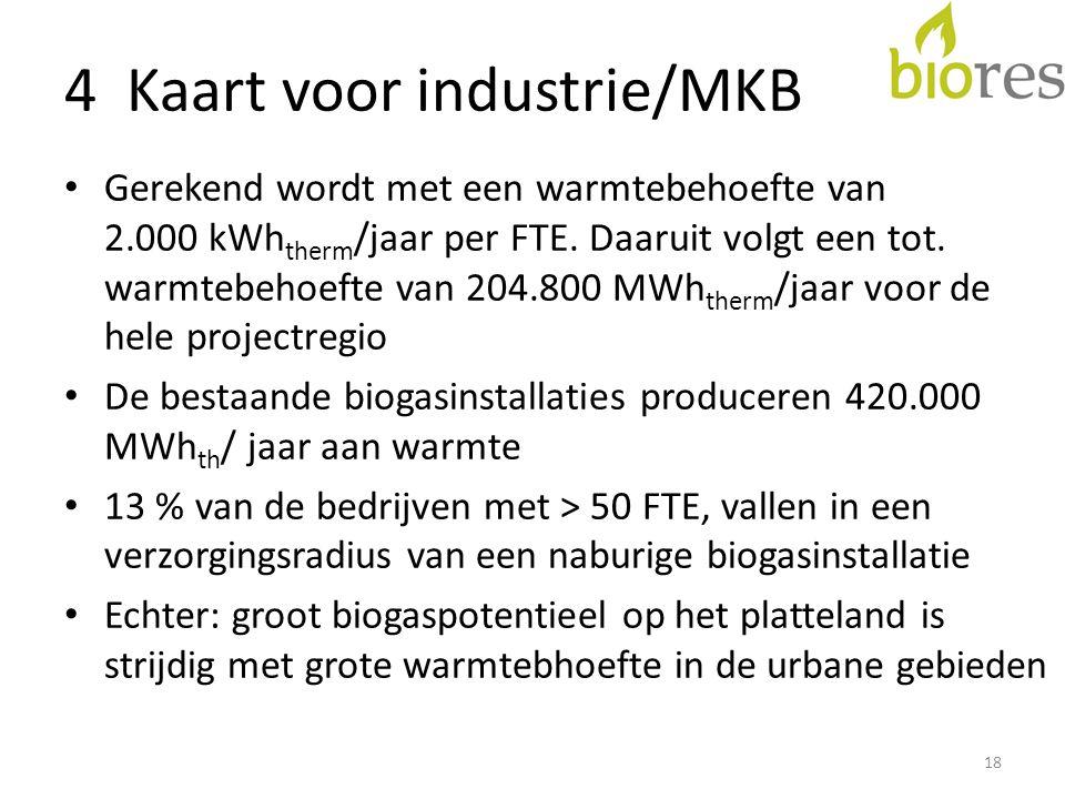 4 Kaart voor industrie/MKB • Gerekend wordt met een warmtebehoefte van 2.000 kWh therm /jaar per FTE.