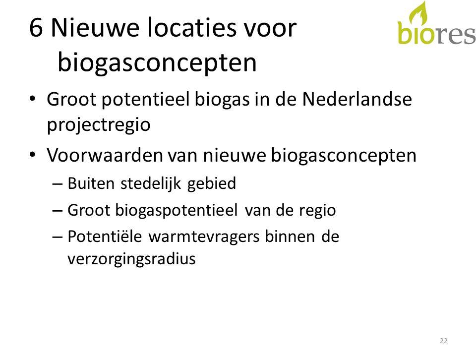 6 Nieuwe locaties voor biogasconcepten • Groot potentieel biogas in de Nederlandse projectregio • Voorwaarden van nieuwe biogasconcepten – Buiten stedelijk gebied – Groot biogaspotentieel van de regio – Potentiële warmtevragers binnen de verzorgingsradius 22