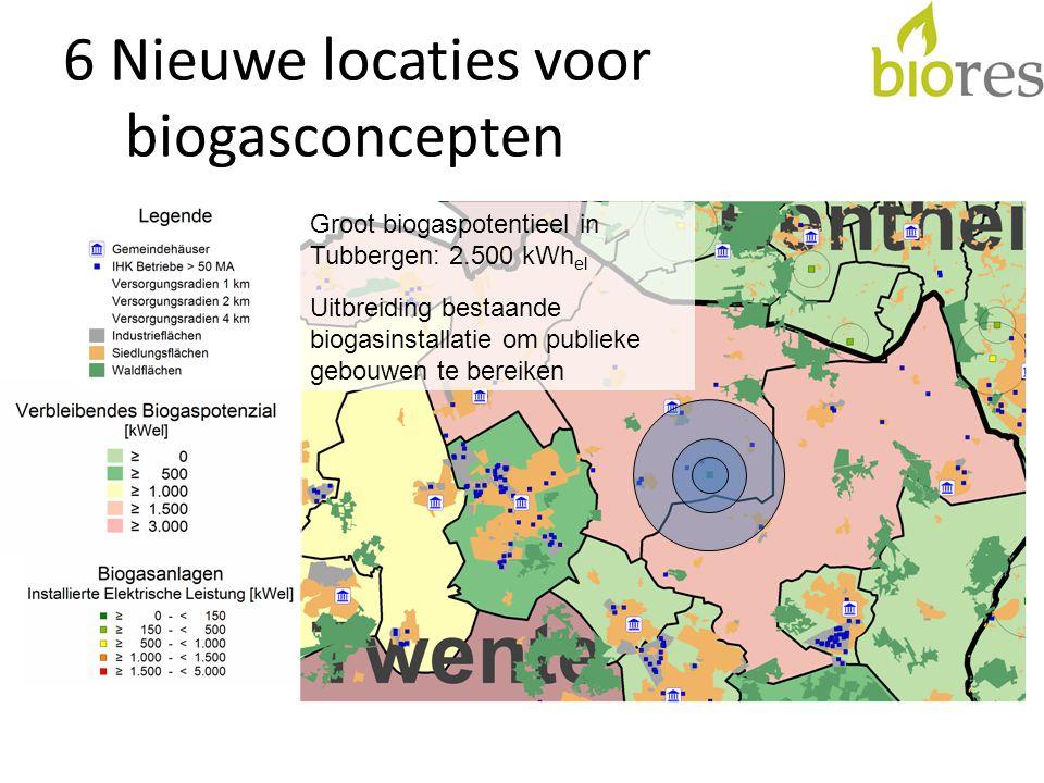 6 Nieuwe locaties voor biogasconcepten Groot biogaspotentieel in Tubbergen: 2.500 kWh el Uitbreiding bestaande biogasinstallatie om publieke gebouwen te bereiken