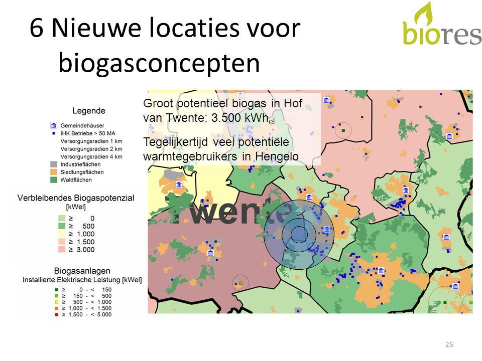 6 Nieuwe locaties voor biogasconcepten 25 Groot potentieel biogas in Hof van Twente: 3.500 kWh el Tegelijkertijd veel potentiële warmtegebruikers in Hengelo