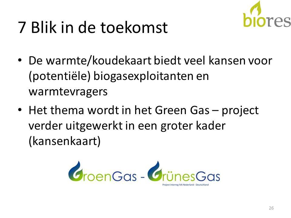 7 Blik in de toekomst • De warmte/koudekaart biedt veel kansen voor (potentiële) biogasexploitanten en warmtevragers • Het thema wordt in het Green Gas – project verder uitgewerkt in een groter kader (kansenkaart) 26