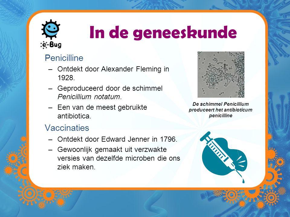In de geneeskunde Penicilline –Ontdekt door Alexander Fleming in 1928.