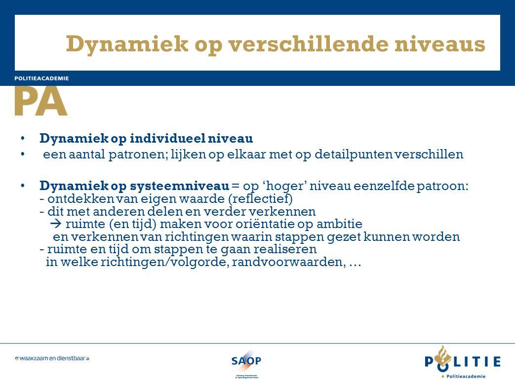Dynamiek op verschillende niveaus • Dynamiek op individueel niveau • een aantal patronen; lijken op elkaar met op detailpunten verschillen • Dynamiek