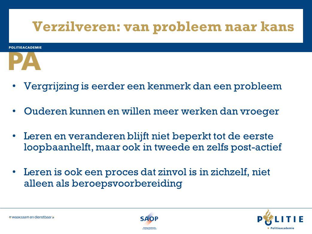 Verzilveren: van probleem naar kans • Vergrijzing is eerder een kenmerk dan een probleem • Ouderen kunnen en willen meer werken dan vroeger • Leren en