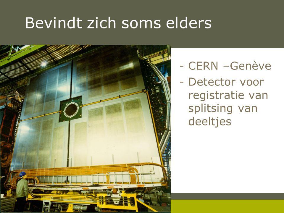 Pag. 8 Bevindt zich soms elders -CERN –Genève -Detector voor registratie van splitsing van deeltjes