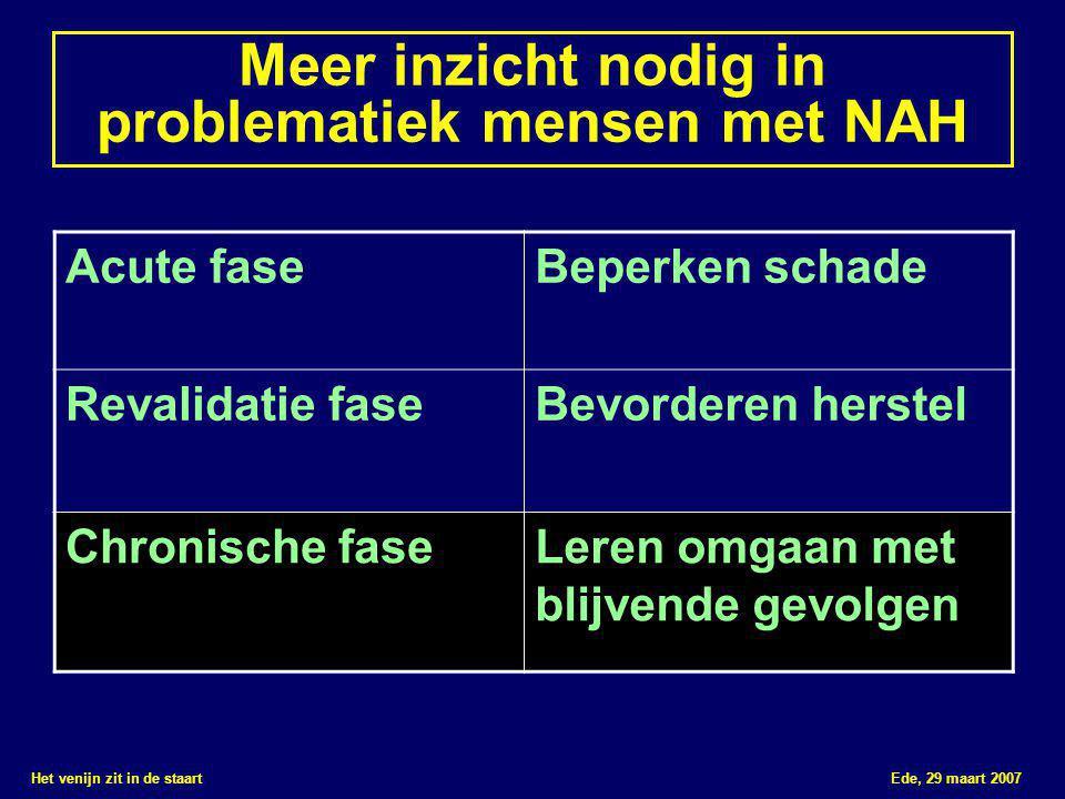 Het venijn zit in de staart Ede, 29 maart 2007 Meer inzicht nodig in problematiek mensen met NAH Acute faseBeperken schade Revalidatie faseBevorderen