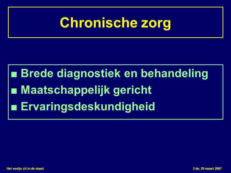 Het venijn zit in de staart Ede, 29 maart 2007 Chronische zorg ■ Brede diagnostiek en behandeling ■ Maatschappelijk gericht ■ Ervaringsdeskundigheid
