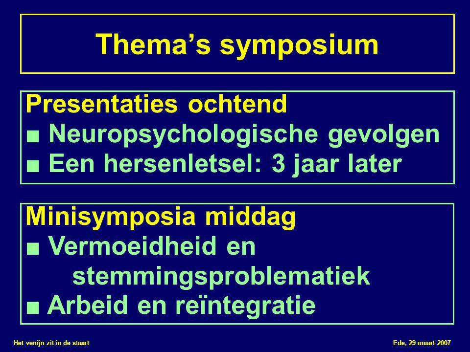 Het venijn zit in de staart Ede, 29 maart 2007 Thema's symposium Presentaties ochtend ■ Neuropsychologische gevolgen ■ Een hersenletsel: 3 jaar later Minisymposia middag ■ Vermoeidheid en stemmingsproblematiek ■ Arbeid en reïntegratie