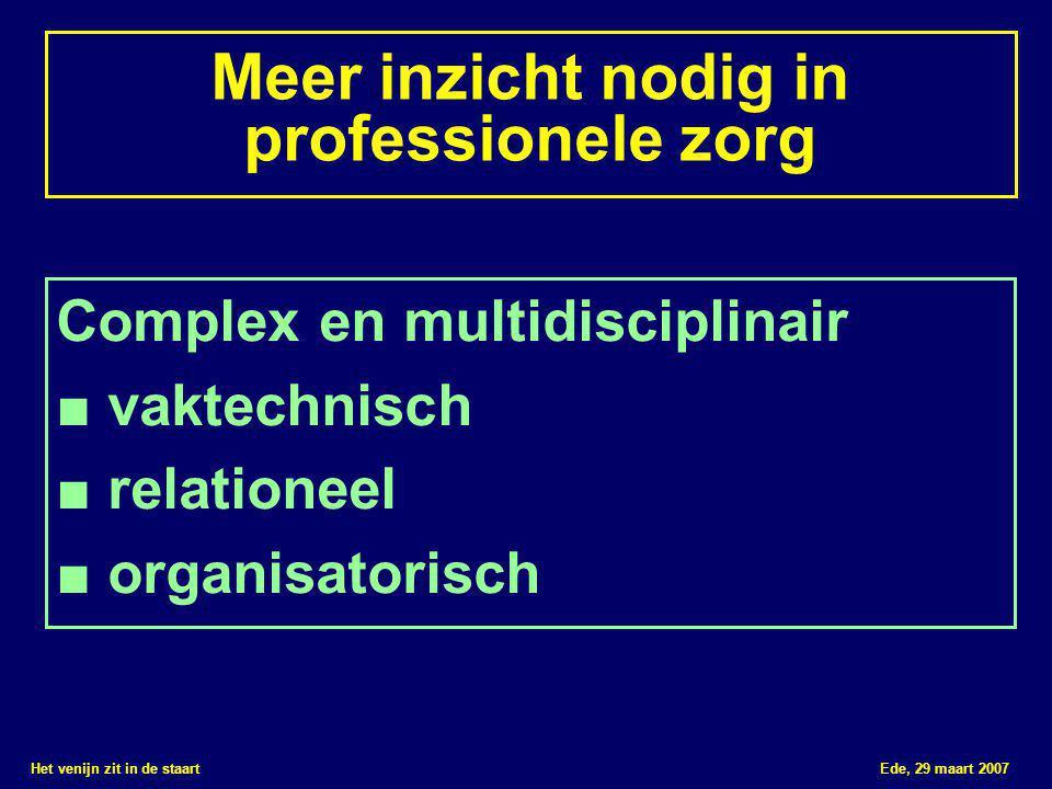 Het venijn zit in de staart Ede, 29 maart 2007 Meer inzicht nodig in professionele zorg Complex en multidisciplinair ■ vaktechnisch ■ relationeel ■ organisatorisch