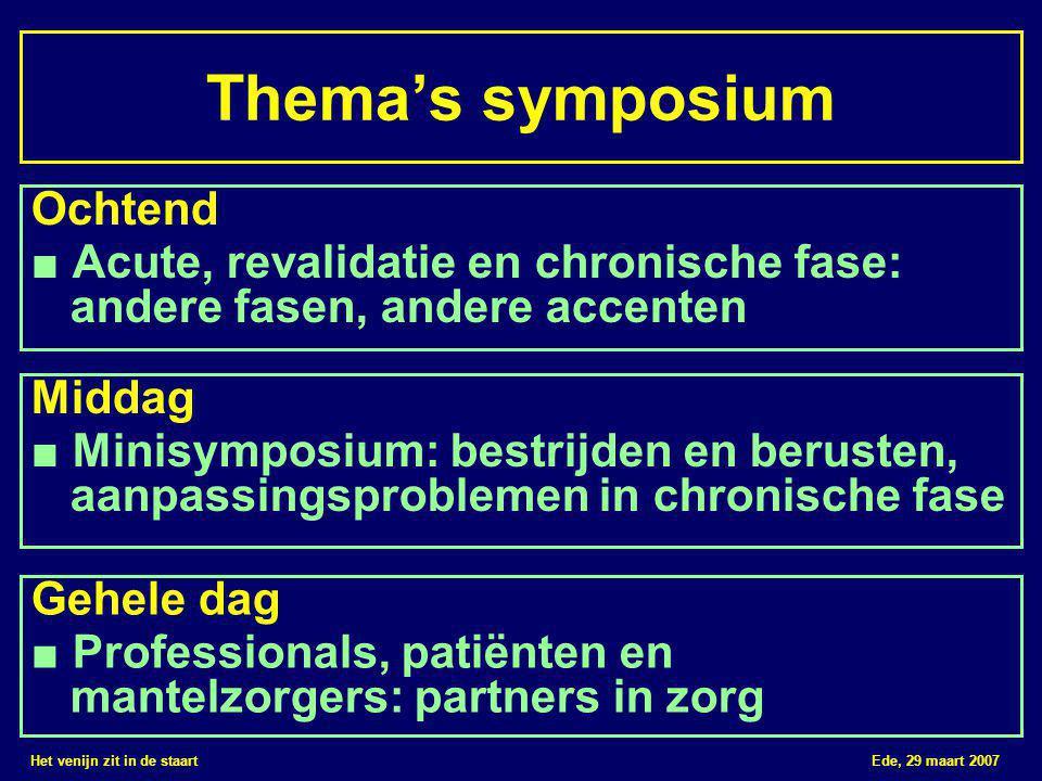 Het venijn zit in de staart Ede, 29 maart 2007 Thema's symposium Ochtend ■ Acute, revalidatie en chronische fase: andere fasen, andere accenten Gehele