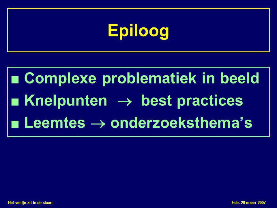 Het venijn zit in de staart Ede, 29 maart 2007 Epiloog ■ Complexe problematiek in beeld ■ Knelpunten  best practices ■ Leemtes  onderzoeksthema's