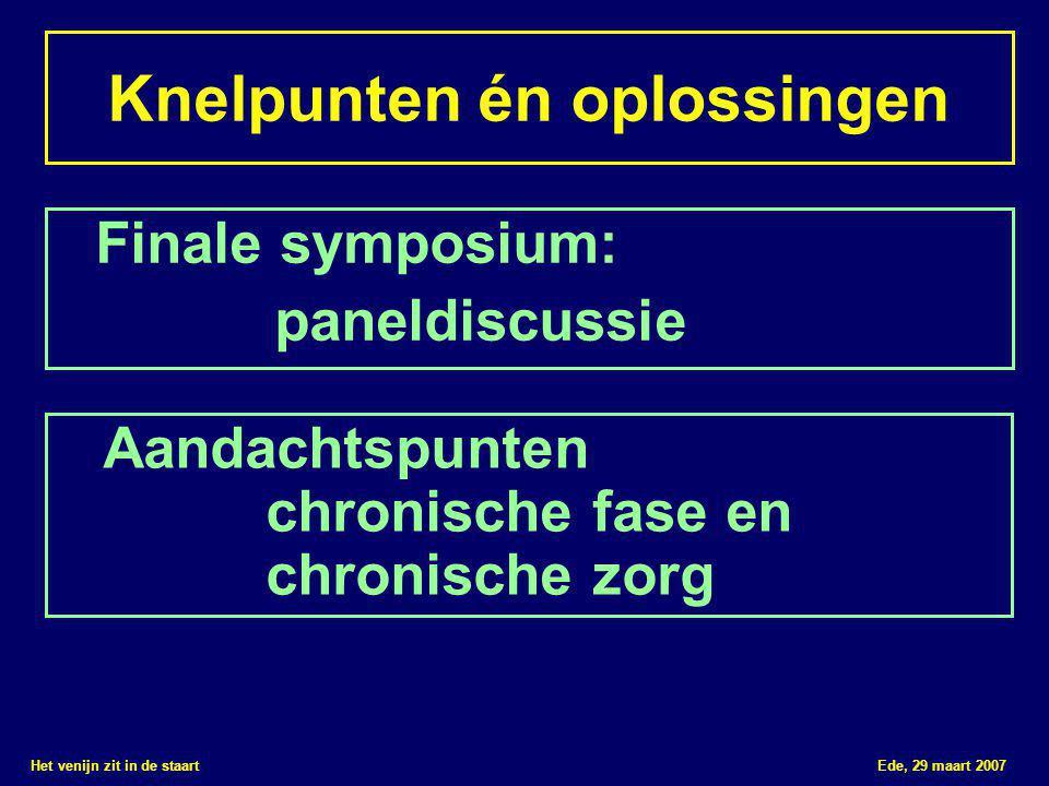 Het venijn zit in de staart Ede, 29 maart 2007 Knelpunten én oplossingen Finale symposium: paneldiscussie Aandachtspunten chronische fase en chronisch