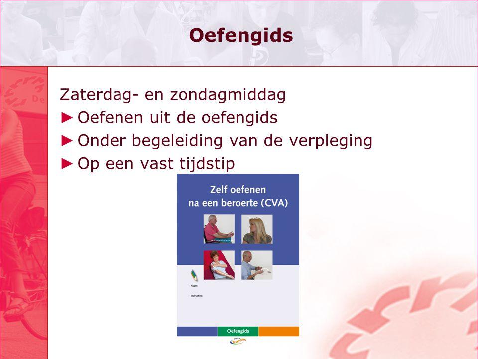 Evaluatie ► In De Hoogstraat is weekendtherapie geëvalueerd: •Revalidanten+therapeuten+verpleegkundigen zijn positief.